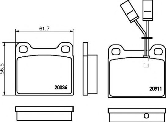 комплект спирачно феродо, дискови спирачки T4157