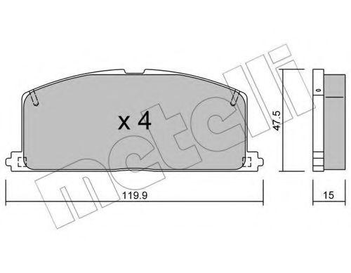 комплект спирачно феродо, дискови спирачки 22-0108-0