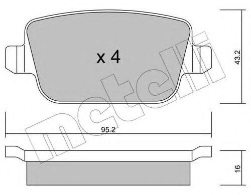 комплект спирачно феродо, дискови спирачки 22-0780-0