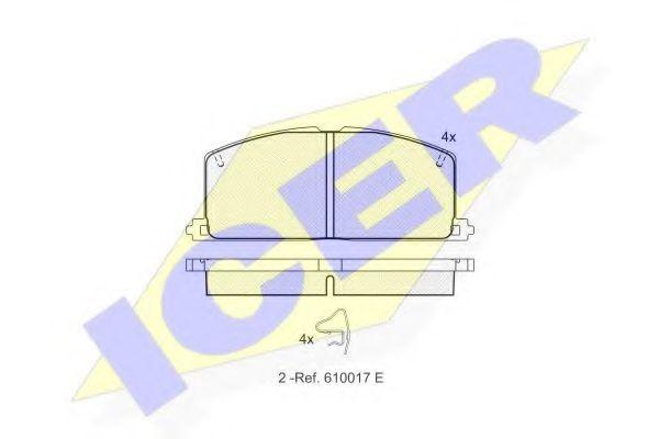 комплект спирачно феродо, дискови спирачки 180462