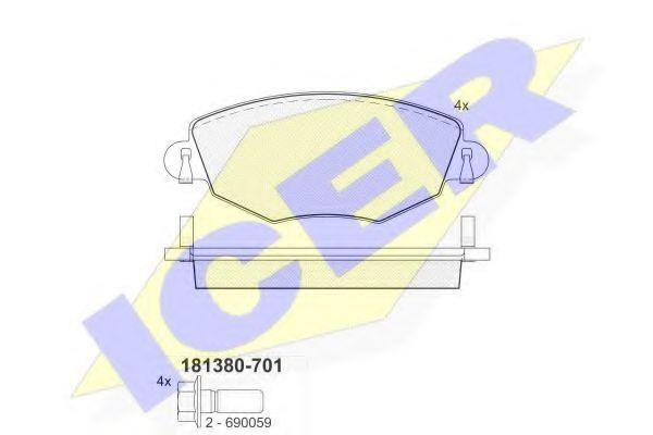 комплект спирачно феродо, дискови спирачки 181380-701