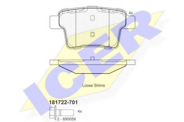 комплект спирачно феродо, дискови спирачки 181722-701