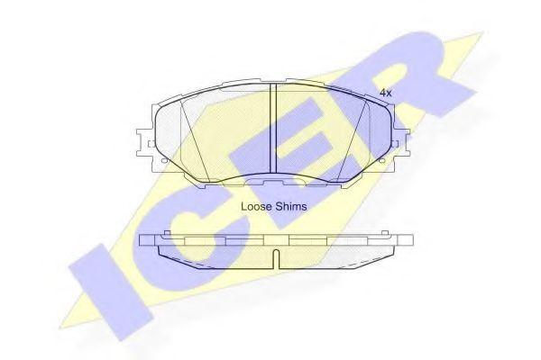 комплект спирачно феродо, дискови спирачки 181760