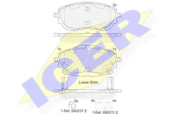 комплект спирачно феродо, дискови спирачки 182129