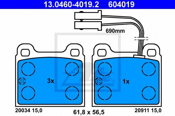 комплект спирачно феродо, дискови спирачки 13.0460-4019.2