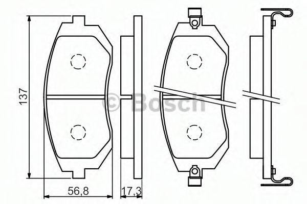 комплект спирачно феродо, дискови спирачки 0 986 494 558