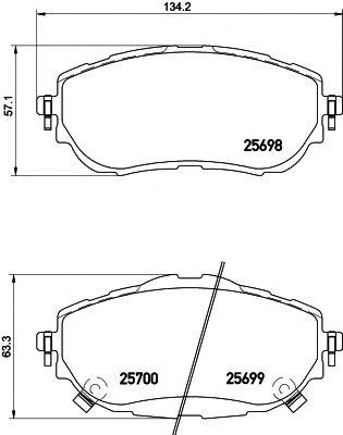 комплект спирачно феродо, дискови спирачки 2569801