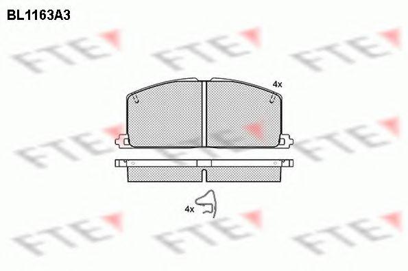 комплект спирачно феродо, дискови спирачки BL1163A3
