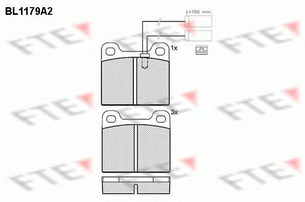 комплект спирачно феродо, дискови спирачки BL1179A2