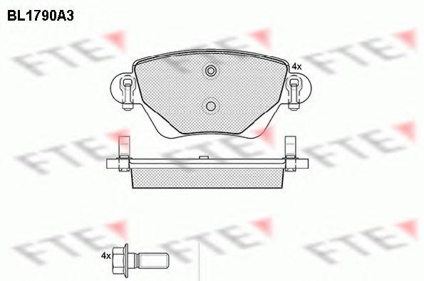 комплект спирачно феродо, дискови спирачки BL1790A3