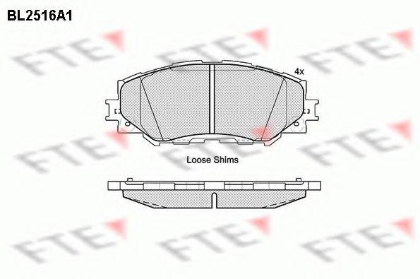 комплект спирачно феродо, дискови спирачки BL2516A1
